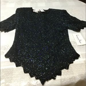 Sparkly black and multi color beaded formal top
